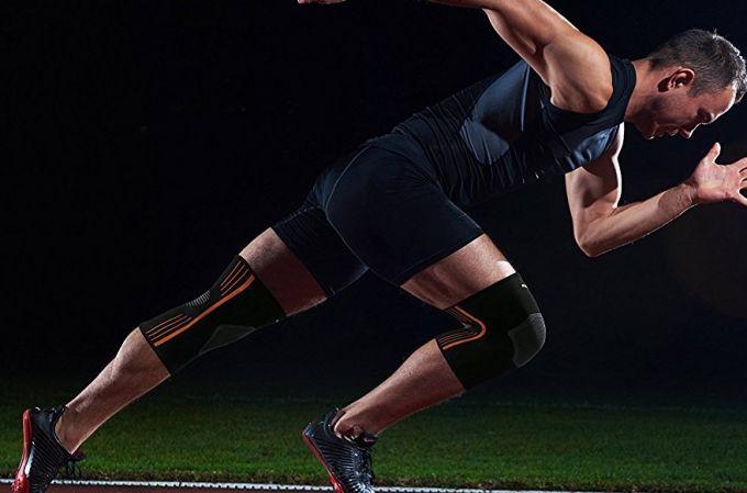 sprint with knee brace