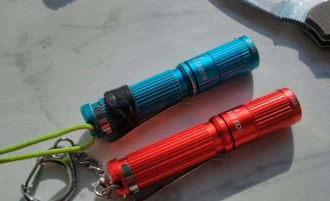 red and blue edc flash light
