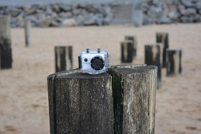 action camera on wood