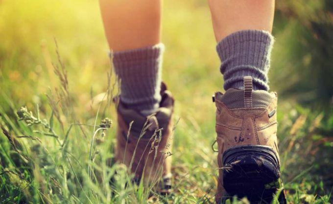 walking with warm socks