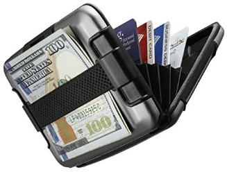 Sharkk RFID Protected Aluminum Wallet with Cash Band Rugged Card Case Wallet