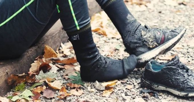 waterproof socks in mud