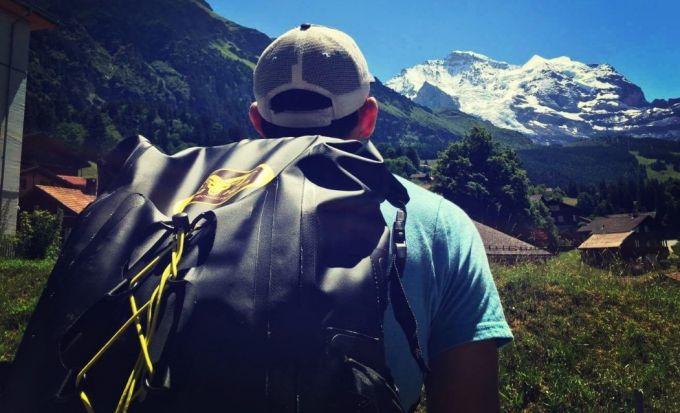 waterproof backpack on man back