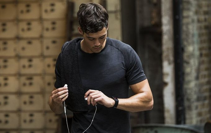 man with fitness tracker