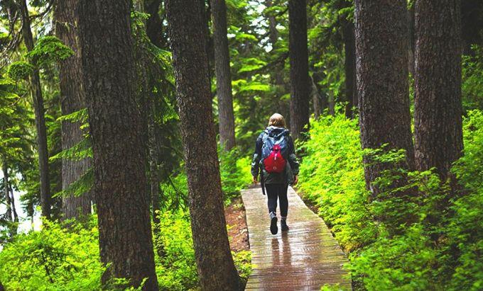 girl with waterproof backpack