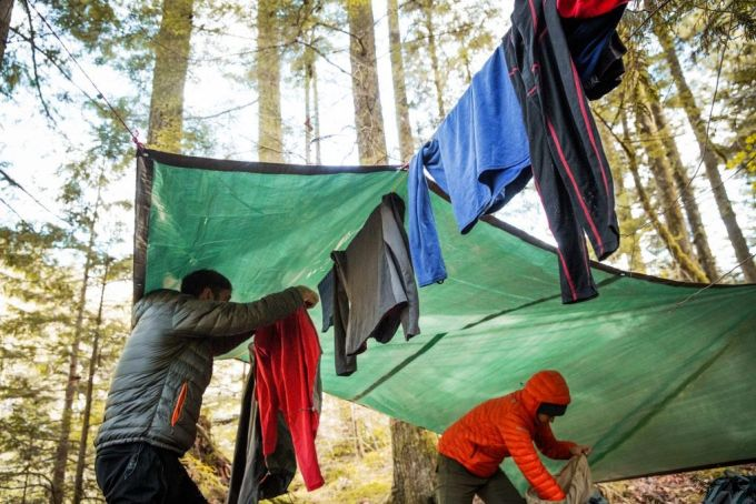 People are Drying Clothes Outside