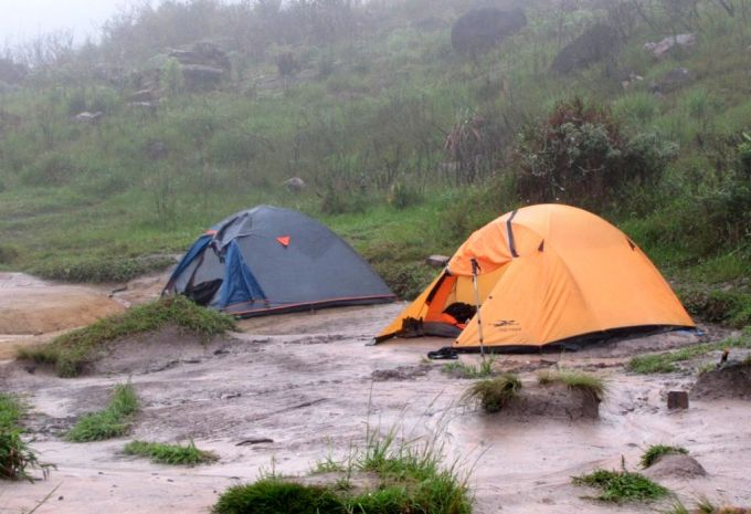 Setting Tent in the Rain