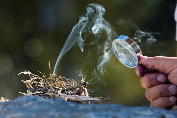 Starting Fire with Magnifying Glass