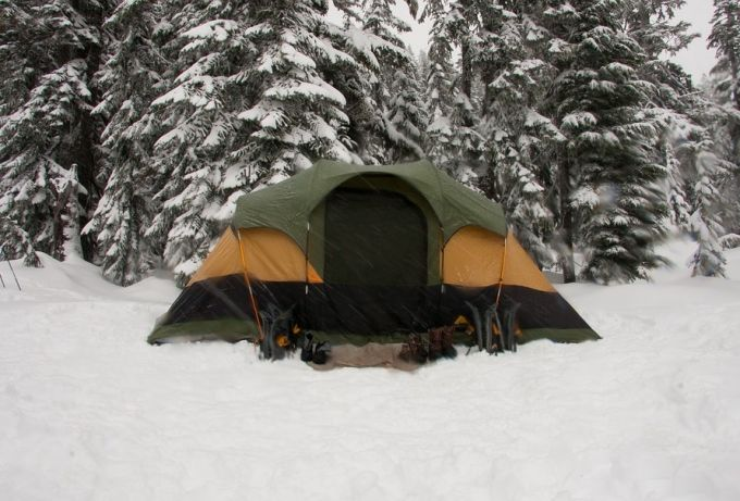 Tent in a Snowy Weather